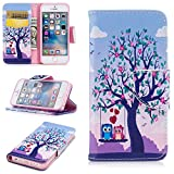iPhone 5 5S SE Case, XinSop Colorful Animal Painted Premium PU Leather Magnetic Closure Flip Stand Shockproof Cover Side Pocket Folio Phone Wallet Case for iPhone 5/5S/SE - Owl Tree