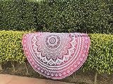 raajsee Round Beach Pink Tapestry hippie/Boho Mandala Beach Blanket Circle/Indian Cotton Bohemian Round Table cloth Mandala Decor/Yoga Mat Meditation Picnic Rugs 70 inch (PINK OMBRE)