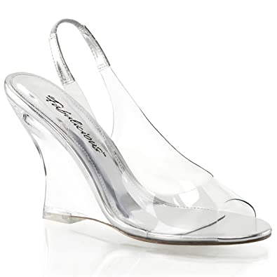 Summitfashions Womens 4 Inch Clear Wedge Sandals Shoes with Metallic Silver  Slingback Strap Size  5