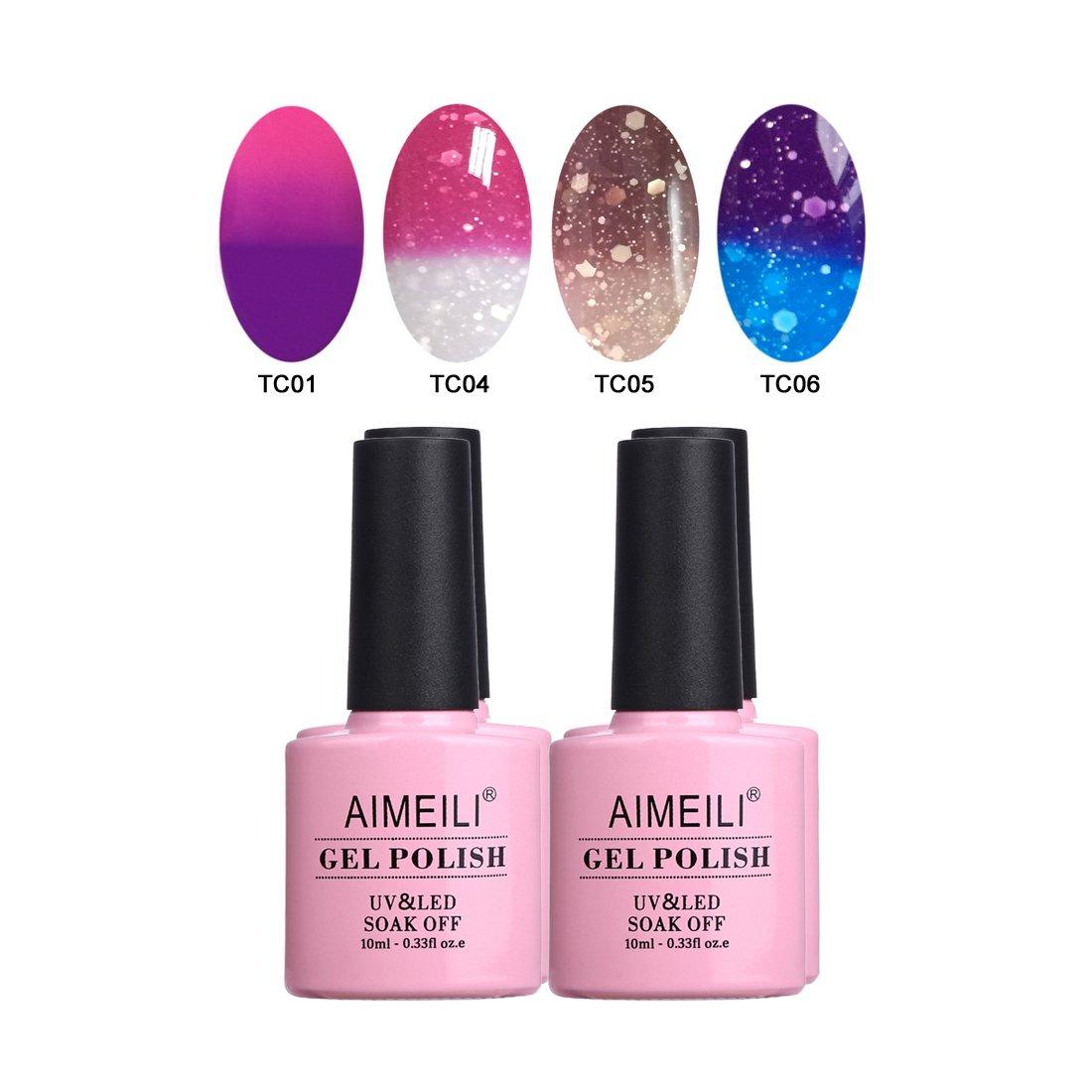AIMEILI Pastel Pink Gel Nail Polish Set Soak Off UV LED Gel Polish Multicolour/Mix Colour/Combo Colour Of 4pcs X 10ml - Gift Kit 17