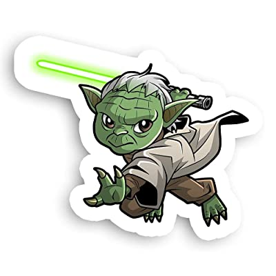 "James Art Ville Jedi Master Yoda Wielding Green Light Saber Star Wars Sticker - 2.5"" x 2.5"": Toys & Games"