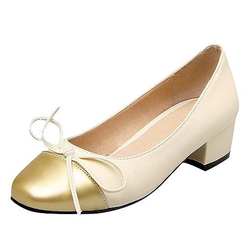 cb0e009e7c0 Charm Foot Women s Fashion Multicolor Bows Chunky Low Heel Pump Shoes (4.5