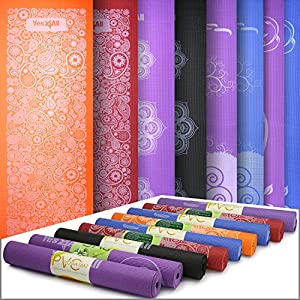 "Yes4All Premium PVC Printed Design Yoga Mat 3mm (68"" x 24"") – Multi Color Available – Honeycomb Non-Slip Surface & Eco Material by Yes4All"