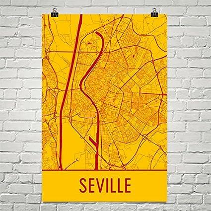 Amazon.com: Modern Map Art Seville Poster, Seville Art Print ...