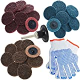 2 Inch Roloc Quick Change Discs Set 30Pcs Sanding Disc, 1Pc 1/4'' Pad Holder, Surface Conditioning Disc for Air Die Grinder, Surface Prep Grinding Polish Finish Strip Burr Rust Paint Removal