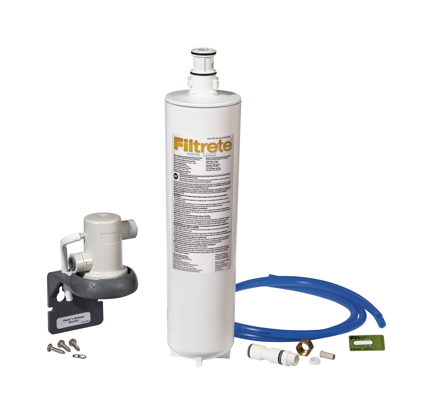 Filtrete Advanced Under Sink Quick Change Water Filtration System, Easy to Install, Reduces 0.5 Microns Sediment and Chlorine Taste & Odor, Includes 6 Month Filter (3US-PS01).Manufactured by 3M.