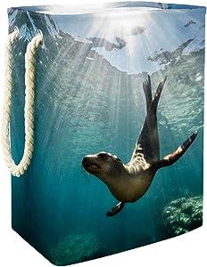DEYYA Sea Lion Seal Underwater Collapsible Laundry Hampers Large Laundry Baskets Storage Bin for Bathroom Bedroom Organization