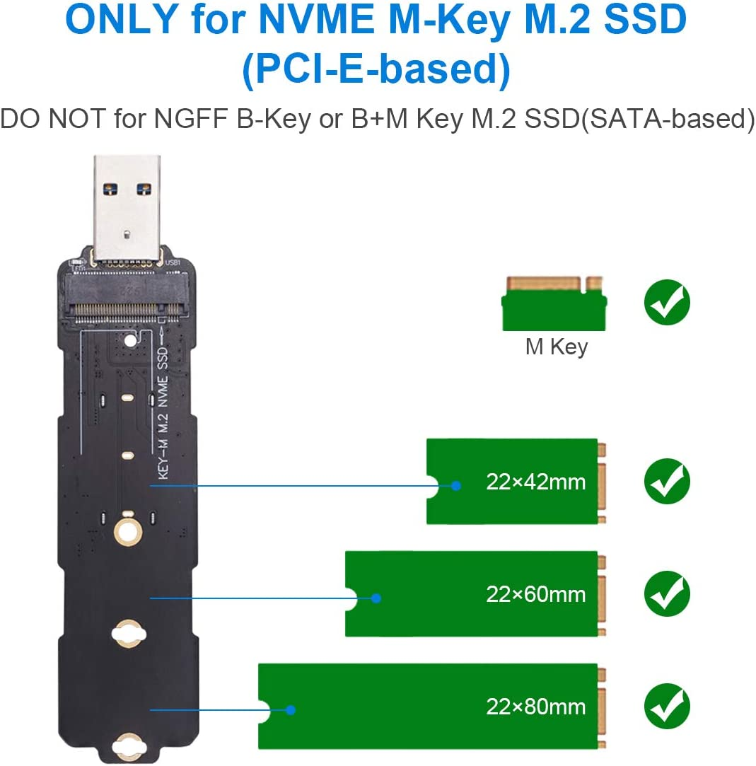Supports M.2 NVMe SSDs 2280 2260 2242. Rongdeson Aluminum M.2 NVME SSD Enclosure Adapter USB 3.1 Telescopic Tool-Free Enclosure Gen 2 Speeds