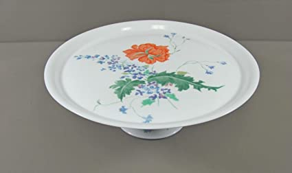 Amazon.com | Ceralene Raynaud Limoges China PAVOT/POPPY Footed Cake ...