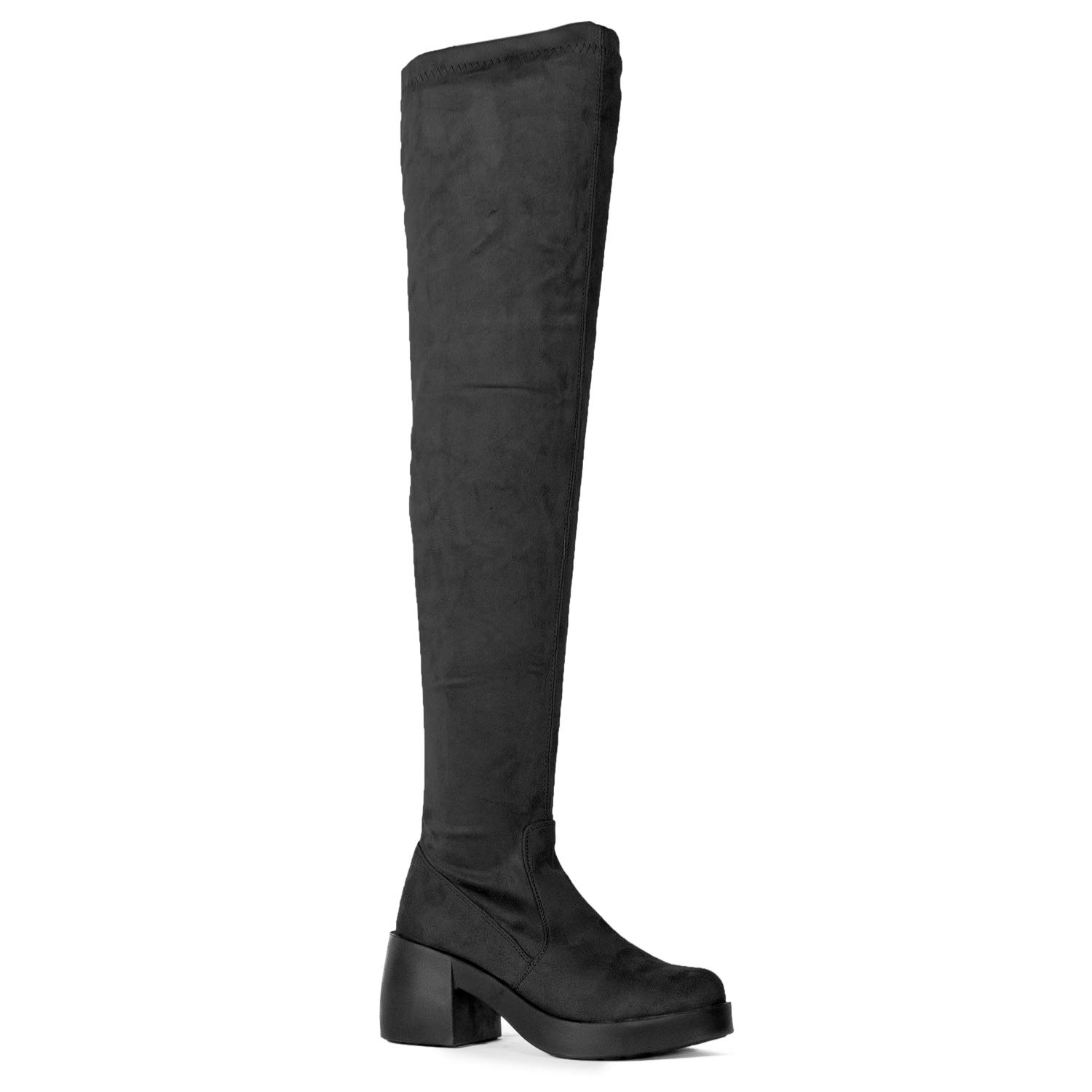 RF ROOM OF FASHION Opus-22 Women's Soft Faux Suede Fitted Platform Chunky Heel Over The Knee Boots Black (8.5)