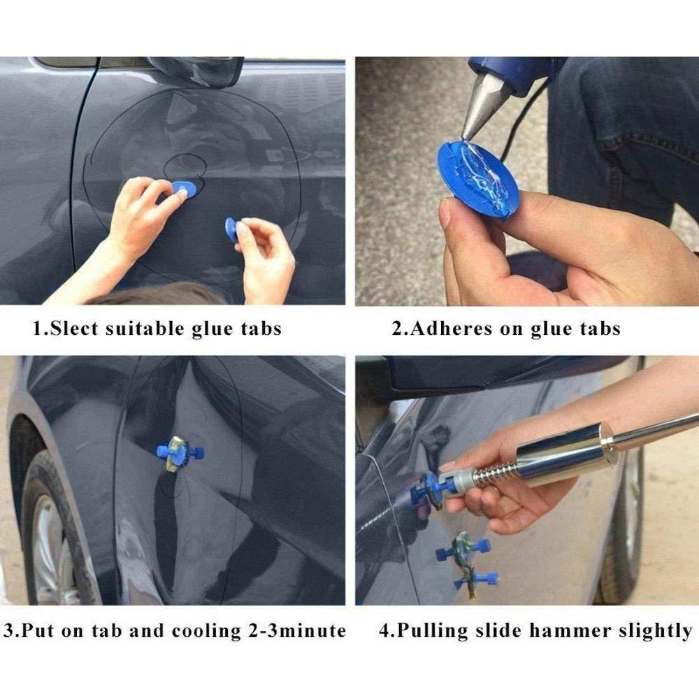 18Pcs Glue Puller Tabs for Vehicle Suv Car Auto Body Hail Damage Remover Fesjoy CAR DENT REMOVER Car Dent Remover Paintless Dent Repair Puller Kit Car Dent Repair Tools T Bar Slide Hammer