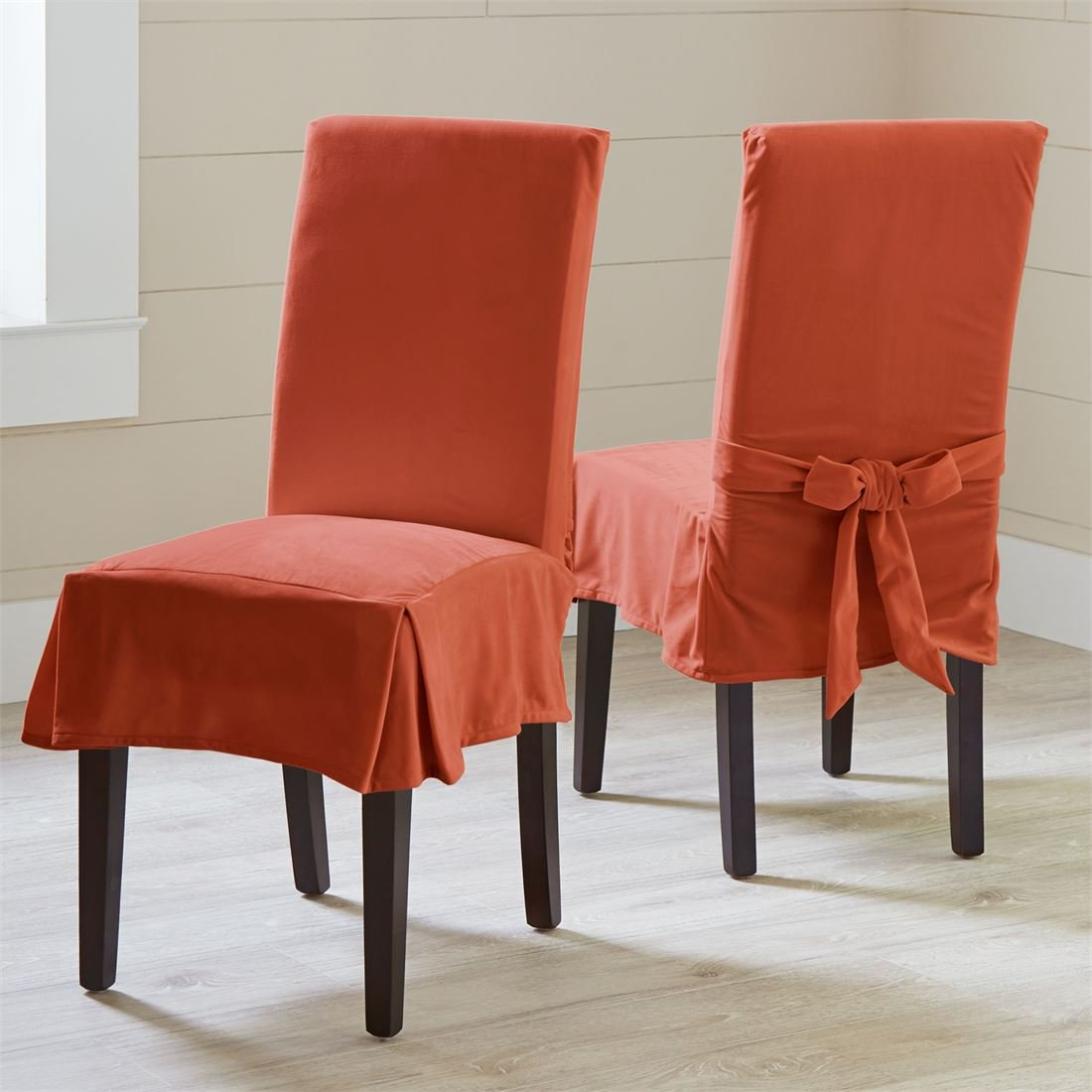 BrylaneHome Venice Velvet Chair Covers, Set Of 2 (Terracotta,0)
