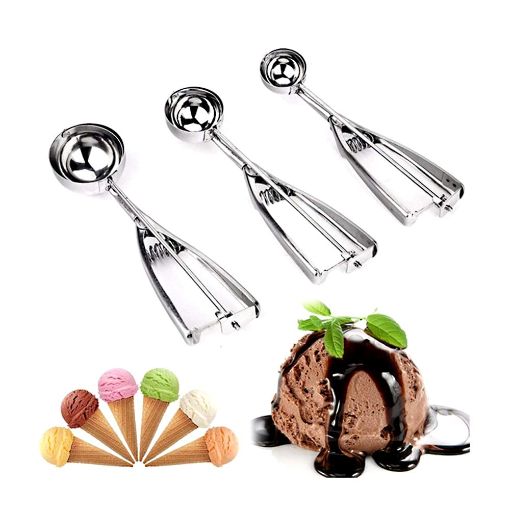 Brand New Set of 3 Ice Cream Scoop Stainless Ice Cream Scoop for Ice Cream Mash Food Spoon Kitchen Ball (4cm + 5cm + 6cm) The Best Kingdom