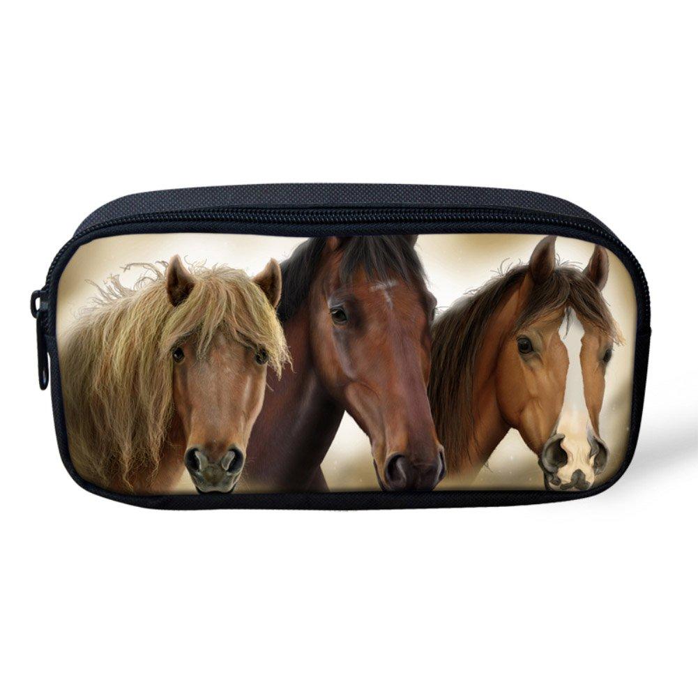 personnalisable 8.66x1.77x4.33 inches Horse6 Hugs Idea-Trousse /à crayons avec image d/'animal