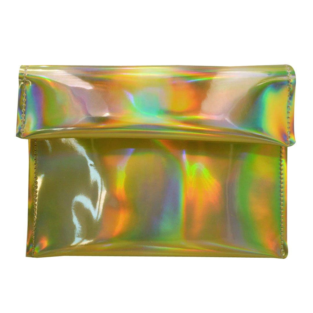 Monique Women Colorful Holographic Handbag Fashion Evening Party Clutch Bag Envelope Bag Mini Chain Sling Bag Shoulder Bag Satchel Golden
