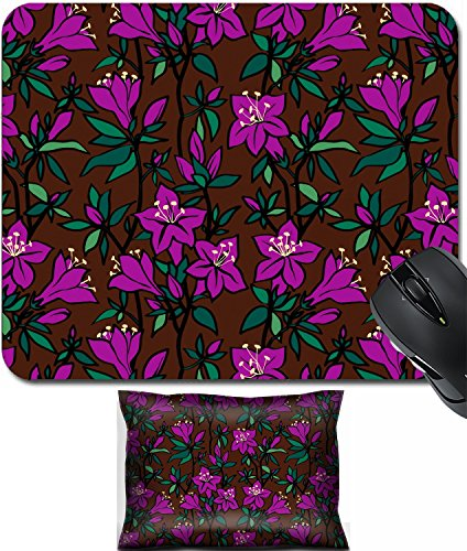 Azalea Pattern - MSD Mouse Wrist Rest and Small Mousepad Set, 2pc Wrist Support design 25022971 llect Seamless floral pattern with purple flowers of an azalea on a brown background