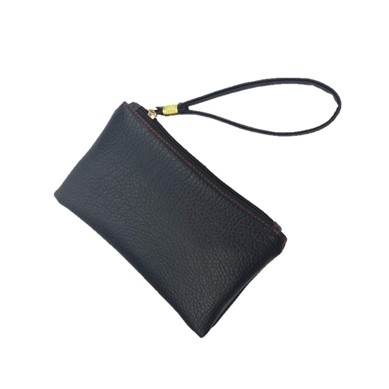 Coin Purse Men Women Key Wallet PU Leather Hand Bag Zipper Clutch Coin Purse Phone Holder Mini Wristlet Handbag