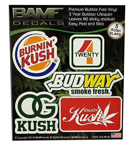Burnin-Kush-Budway-Smoke-Fresh-420-Marijuana-Leaf-Sticker-Pack-BAMFdecals-Slaps