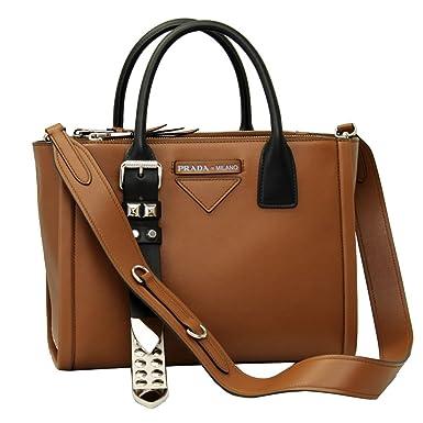 74eb066bc Prada Concept brown leather Handbag With Shoulder Strap 1BA175 Cognac+Bianco