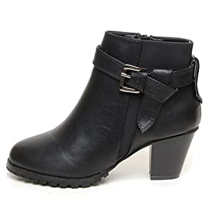 EpicStep Women's Black Dress Formal Casual Belt Buckled Mid Heels Zip Ankle Boots Booties Shoes 6.5 M US