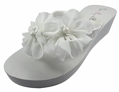 a7ecd1a057fdd4 White Chiffon Flower Wedge Flip Flops 2 inch Wedding Bridal Wedge Bride  Platform Heel Shoes Sandals Beach  Amazon.co.uk  Shoes   Bags