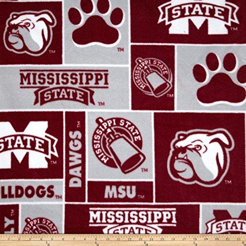 Sykel Enterprises Collegiate Fleece Mississippi State Bulldogs Burgundy/Gray Fabric by The -