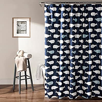 Lush Decor Whale Shower Curtain - Dimensions: 72L x 72W in. Polyester construction White whales on navy blue ground - shower-curtains, bathroom-linens, bathroom - 613dMLO9ErL. SS400  -