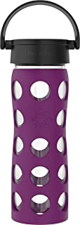 product image for Lifefactory 16-Ounce BPA-Free Glass Water Bottle with Classic Cap and Protective Silicone Sleeve, Plum