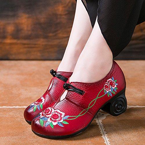 Da Dimensione Block Ricamo Donna Jane 36 Eu colore Leather Flower Rosso Scarpe Zipper Nero Mary 4pq1p5