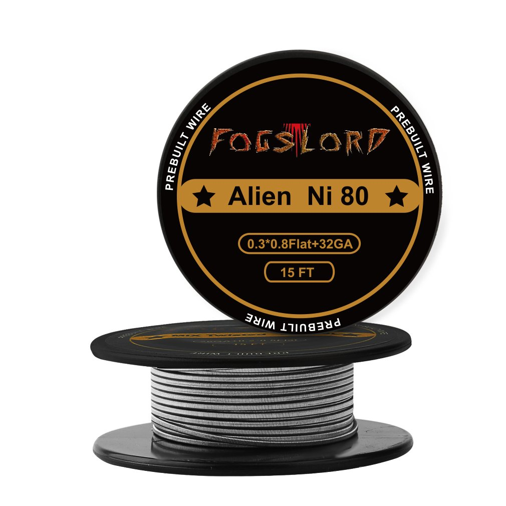 FogsLord Alien Wire Nichrome 80 Heat Resistance Wire Spool Braided Electronic Coil 15 ft. AWG 0.3x0.8 Flat + 32GA