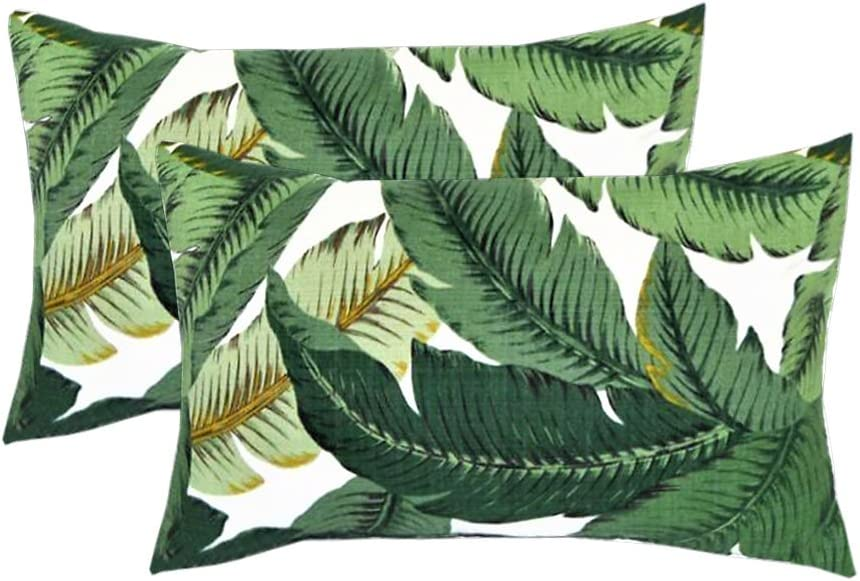 Set Of 2 Indoor Outdoor Decorative Lumbar Rectangle Pillows Made With Tommy Bahama Swaying Palms Aloe Green Tropical Palm Leaf Home Kitchen