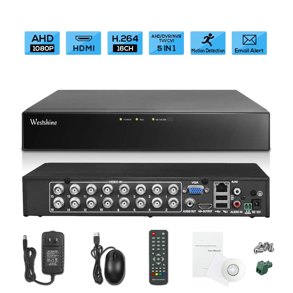 Westshine 16CH 1080P AHD/TVI/CVI/Analog/IP Hybrid DVR, H.264 HD 1920x1080P CCTV Digital Video Recorder, Support Onvif, Motion Detection, Email Alert, Remote Access, P2P Cloud (NO HDD) by WESTSHINE