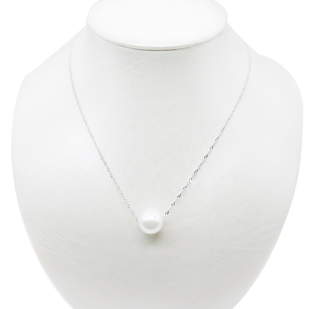 Amelery Pearl Necklace Silver White Simulated Single Pendant Pearl 9-10mm 925 Solid Sterling Silver Singapore Chain 18'' Necklaces for Women B01AU8JMJG_US