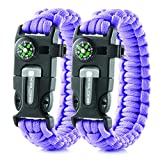 Tools & Hardware : X-Plore Gear Emergency Paracord Bracelets | Set Of 2| The ULTIMATE Tactical Survival Gear| Flint Fire Starter, Whistle, Compass & Scraper/Knife| BEST Wilderness Survival-Kit -- Purple(R)/Purple(R)