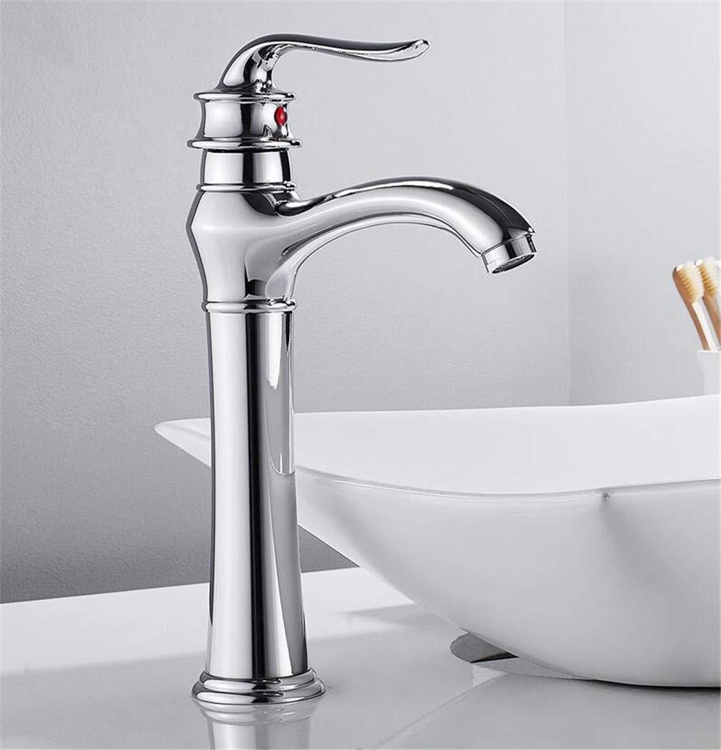 Höher Becken-Hahn-Mischer-Hahn Chrom-Finish-Plattform brachte ein Loch-Badezimmer-Reinigungs-Füller-klassischen Wasserhahn an