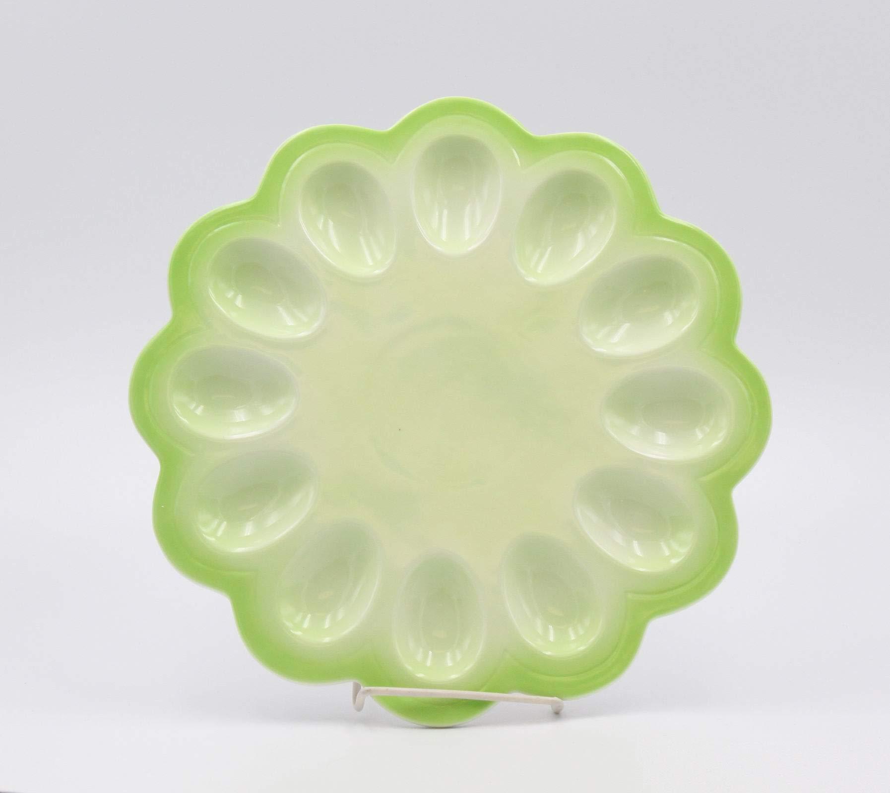 Fine Porcelain Spring Green Color Egg Serving Plate, 11''