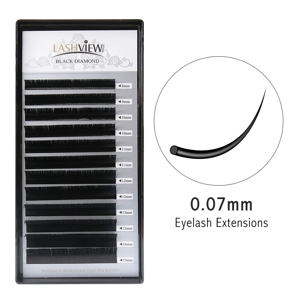 d0f7cdcb4d3 LASHVIEW 0.07 Thickness C Curl Mixed Tray Volume Faux Mink Eyelash  Extensions Silk Individual Lash Extensions