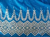 Vivid Blue Cotton Fabric Lace Design, 2 Yards, Off Wite Lace Border