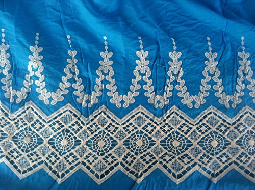 Vivid Blue Cotton Fabric Lace Design, 2 Yards, Off Wite Lace Border by Trims unlimited