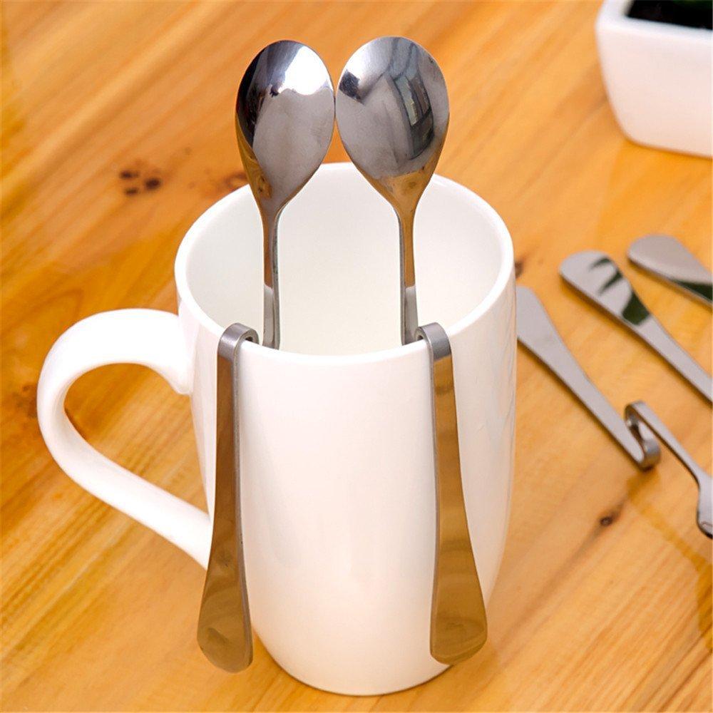 5/pieza Acero inoxidable Caf/é Cuchara Doblar h/äng Extremos Taza miel Cuchara curvada Suspension Cuchara para mermelada