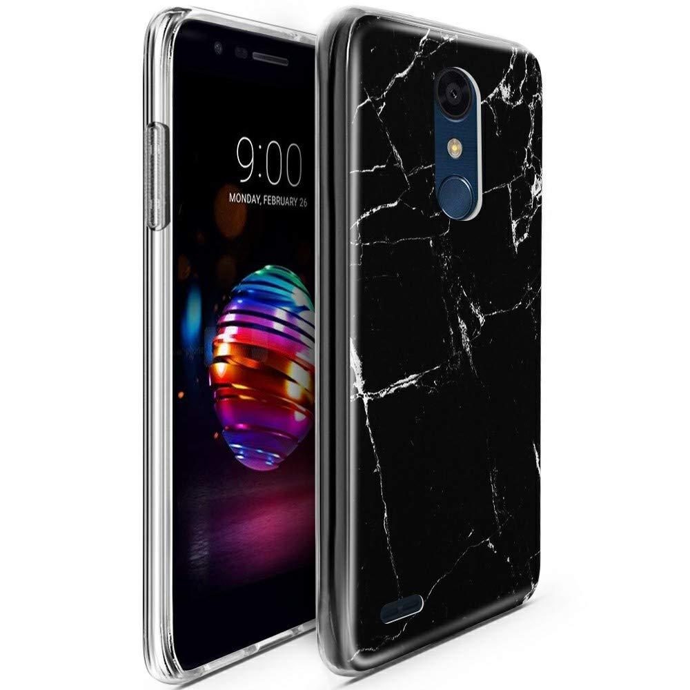 CLM-Tech Funda LG K11 / K10 2018, Silicona TPU Case Mármol Negro Blanco Carcasa para LG K11 / K10 2018 Cover