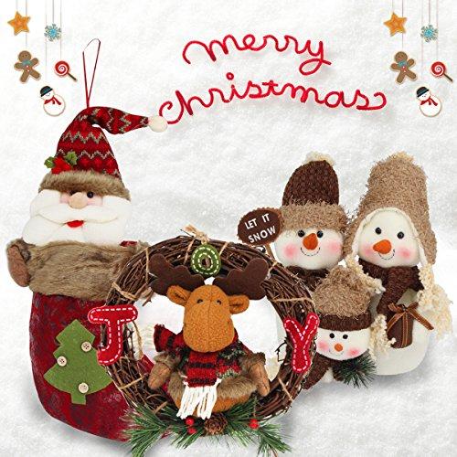 SHENOSI Christmas Decorations 3 Pcs Set - Christmas Wreath, Snowman Family Doll and Christmas Stocking (Stocking Snowman Family)