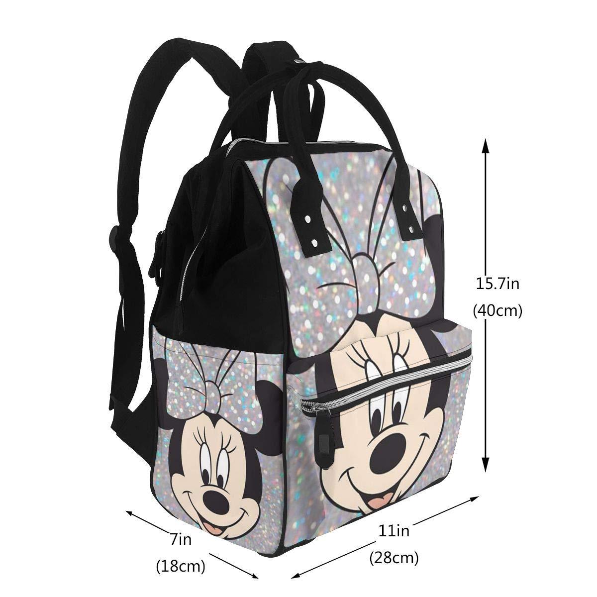Multifunktions-Wickeltasche Rucksack f/ür Mama//Papa mit Kinderwagengurten und isolierten Taschen modisch und langlebig Minnie Mouse Wickelrucksack f/ür M/ütter
