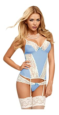7474cd6322 Avanua Eden Luxury Corset and Matching Brief Set in Blue and White - 2XL 3XL