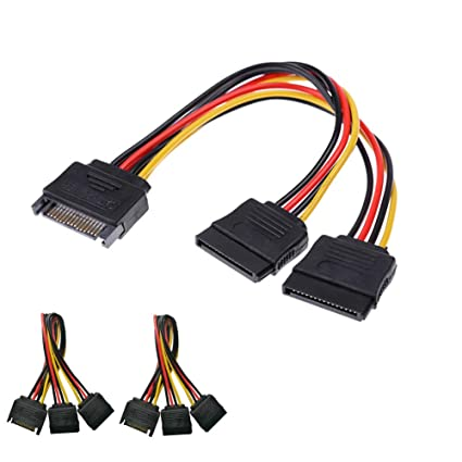 amazon com: modeshell (2-pack) sata splitter power cable, sata 15 pin male  to dual female power y cable dual splitter hard drive disk extension cable  - 7 6