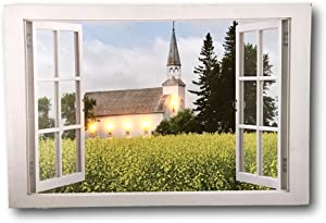 BANBERRY DESIGNS Church Canvas Print - LED Lighted Picture with a Window Frame Border and A County Church Setting - Lighted Church Picture