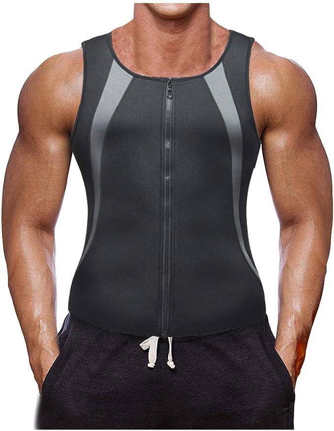 FossenHom - Camisetas de Tirantes Hombre Verano 2020 - Camisetas Marca Divertidas con Zipper, Tank Top Chaleco de Cintura de Neoprene Corset Weightloss Body Shaper: Amazon.es: Ropa y accesorios
