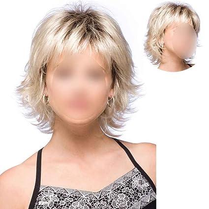 fgyhty Corta sintética Peluca Rubia Recta para Mujeres Corto de Oro del Pelo Afro Pelucas llenas
