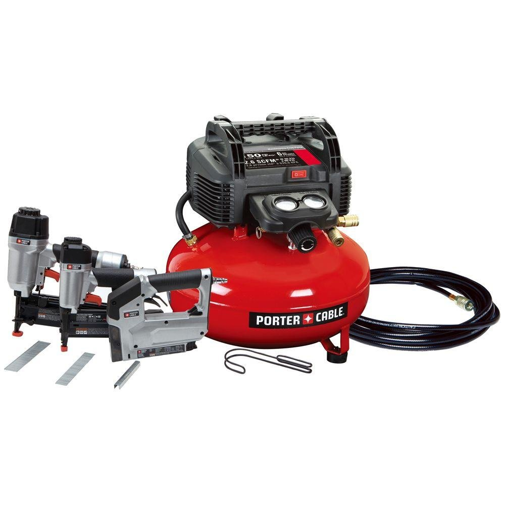 Portable Air Compressor Porter Cable Combo With Air Tools- Industrial Workhorse Perfect For Framing, Finish Work, Flooring Crafts- Equipped With Nailer, Brad Nailer & Crown Stapler- Awesome Tool Combo