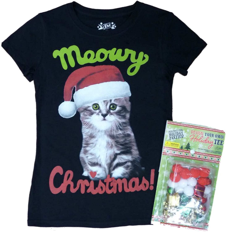 Jem Girl Black Design Your Own Holiday Kitten T-Shirt Kit Christmas Tee Shirt